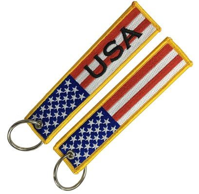 PMS Color Washable Polyester Thread Embroidered Fabric Keychain