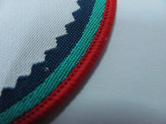 Custom Woven Patch With Embroidery Merrow Border For Hats/Garment