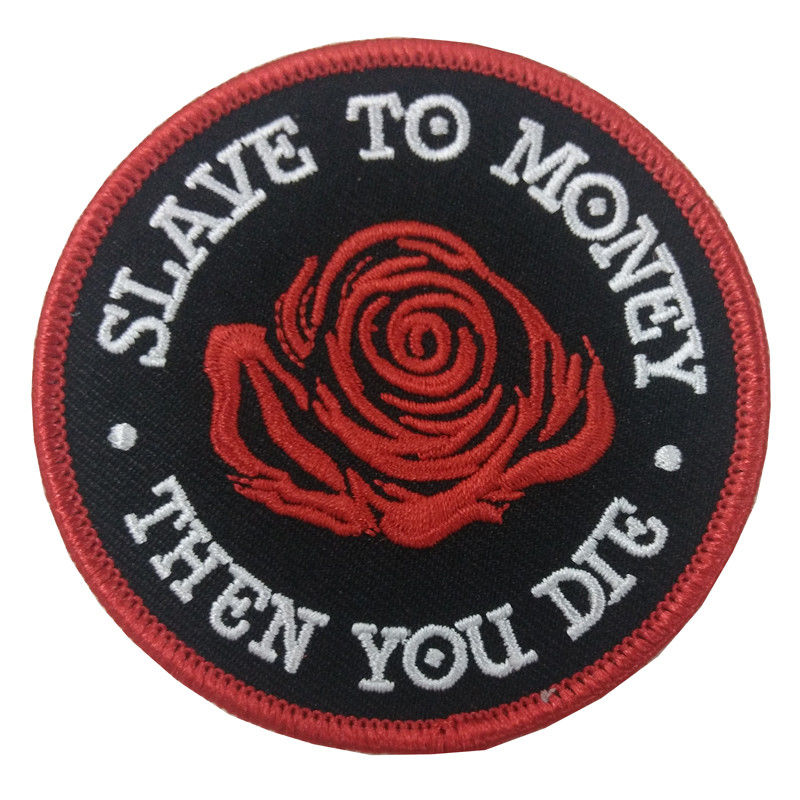 Extremely Durable Custom Embroidered Patch Flower Biker Felt  Laser Cut Border